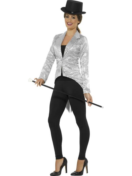 Women's Sequin Tailcoat Jacket Fancy Dress Costume Thumbnail 1