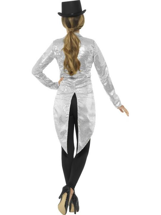 Women's Sequin Tailcoat Jacket Fancy Dress Costume Thumbnail 2