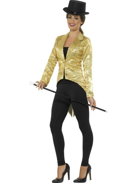 Women's Gold Sequin Tailcoat Jacket Fancy Dress Costume Thumbnail 1