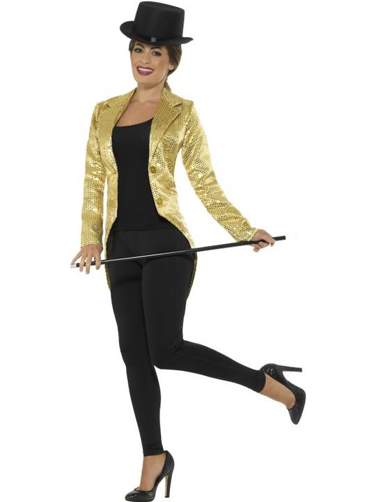Women's Gold Sequin Tailcoat Jacket Fancy Dress Costume Thumbnail 2