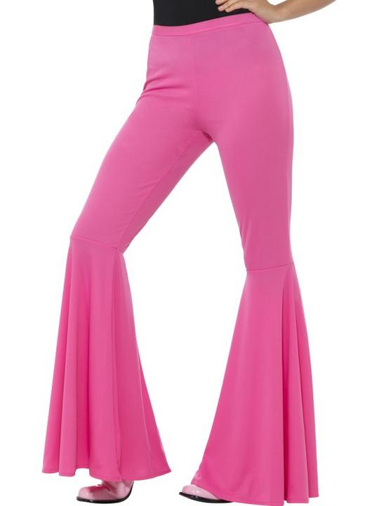 Flared Trousers Pink Women's 70's Fancy Dress Costume Thumbnail 1