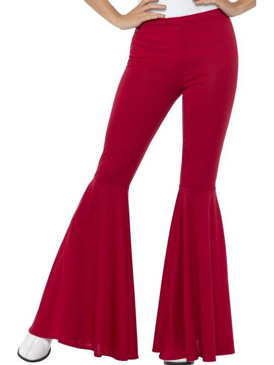 Flared Trousers Red Women's 70's Fancy Dress Costume Thumbnail 1