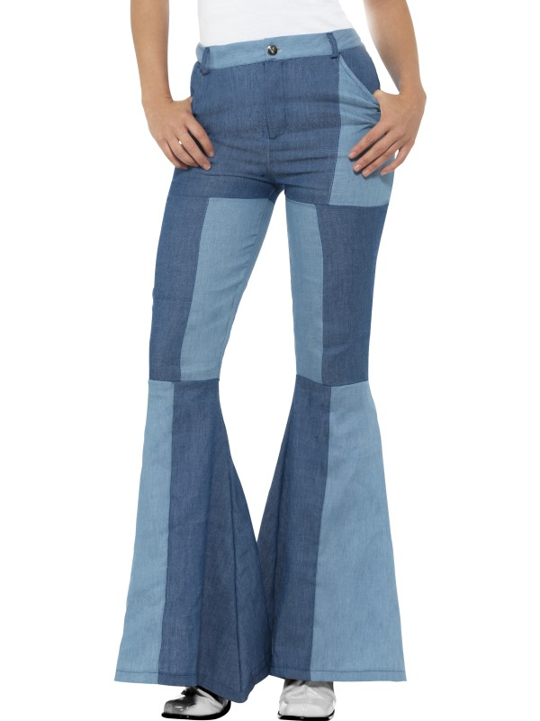 1960s 1970s Flared Trousers Hippy Hippie Costume Womens Fancy Dress Ladies Outfi