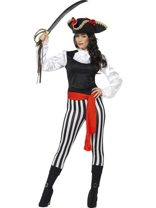 Pirate Caribbean Womens costume Swashbuckler Ladies Fancy Dress Hen Party Outfit Thumbnail 1
