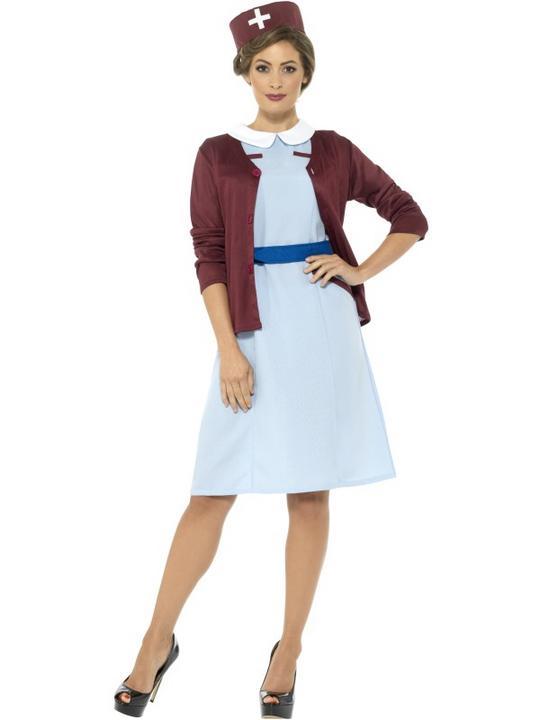 Nurse Uniform 1940s Ladies  world war Fancy Dress Costume Outfit Adult Womens Thumbnail 1