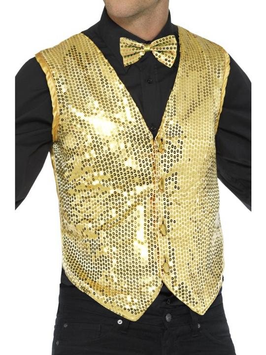 Sequin Waistcoat Unisex Gold Fancy Dress Thumbnail 1