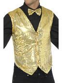 Sequin Waistcoat Unisex Gold Fancy Dress