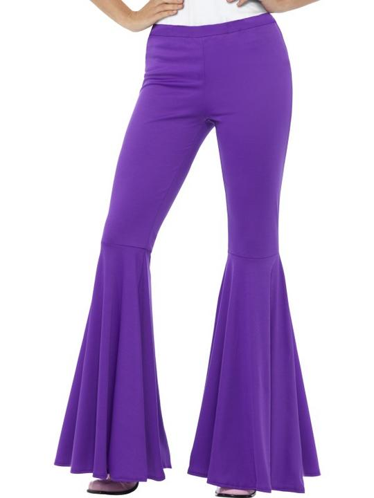 Flared Trousers Purple Women's Fancy Dress Costume Thumbnail 1