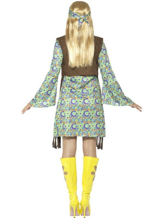 60's Hippie Chick Women's Fancy Dress Costume Thumbnail 2