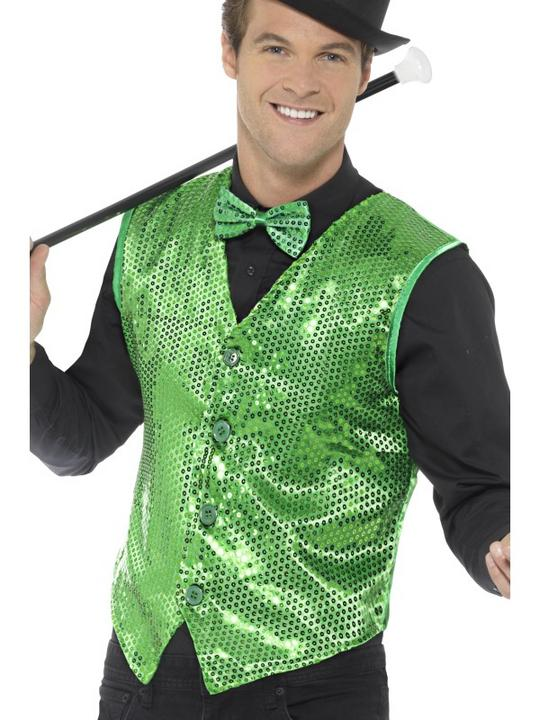 Sequin Waistcoat Green Men's Fancy Dress Thumbnail 1