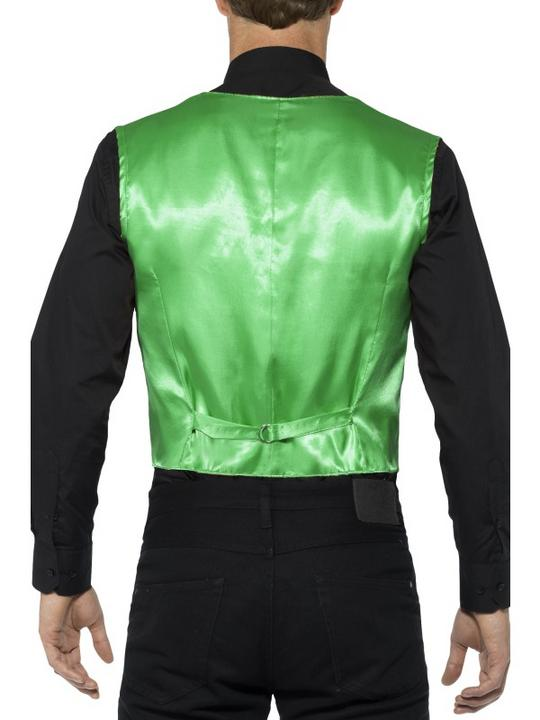 Sequin Waistcoat Green Men's Fancy Dress Thumbnail 2