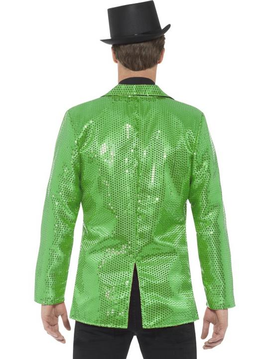 Sequin Jacket Green Mens Fancy Dress Costume Thumbnail 2