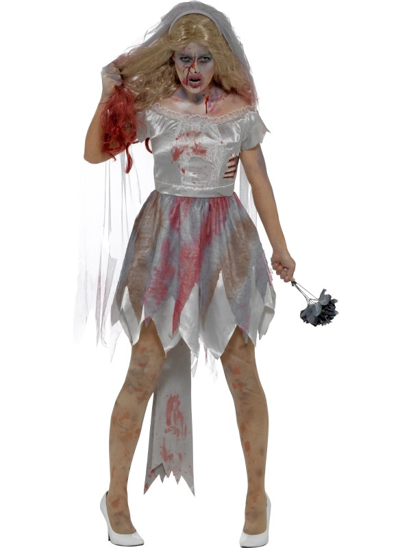 Deluxe Zombie Bride Women's Fancy Dress Costume