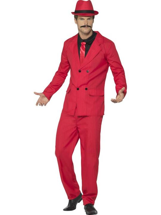 Zoot Suit Men's Fancy Dress Costume Red Thumbnail 1