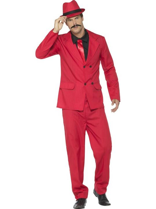 Zoot Suit Men's Fancy Dress Costume Red Thumbnail 2