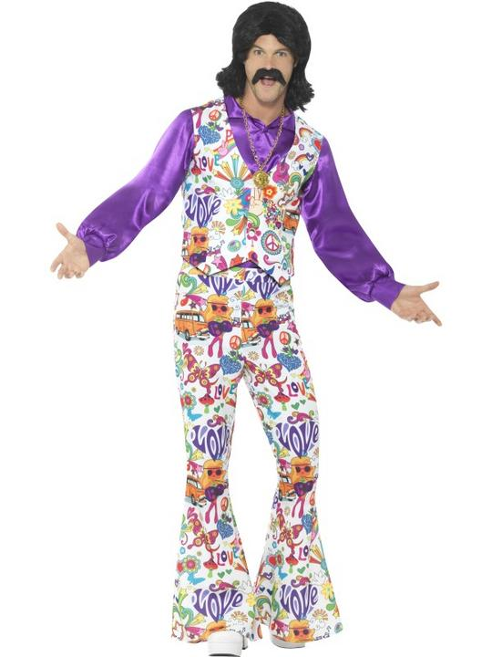 60's Groovy Hippie Men's Fancy Dress Costume Thumbnail 1