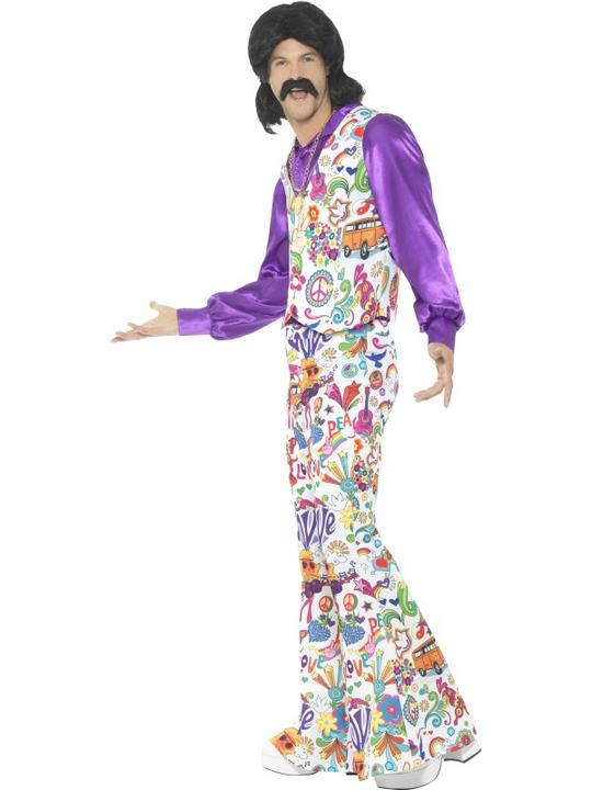 60's Groovy Hippie Men's Fancy Dress Costume Thumbnail 2