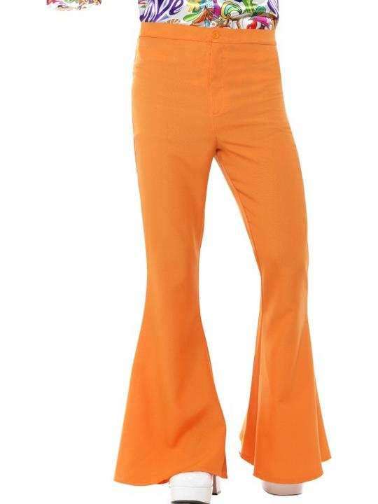 Flared Trousers Orange Men's Fancy Dress Costume Thumbnail 1