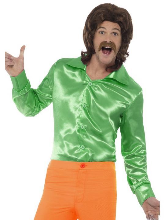 60's Shirt Green Men's Fancy Dress Costume Thumbnail 1