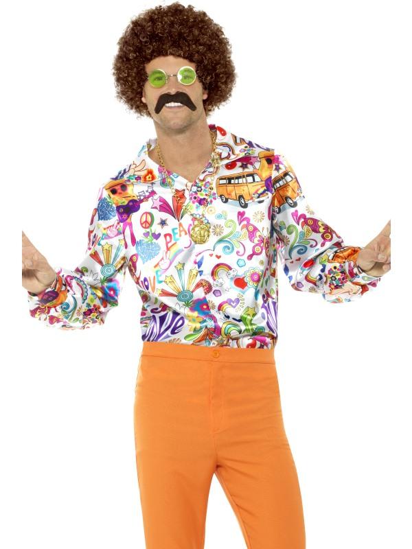 60's Groovy Shirt Multicoloured Men's Fancy Dress Costume
