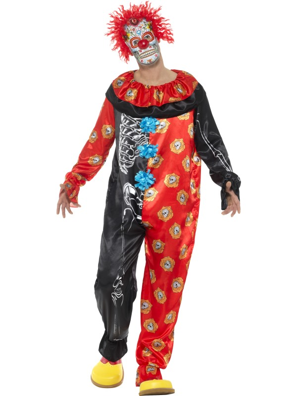 Deluxe Day of the Dead Clown Men's Fancy Dress Costume