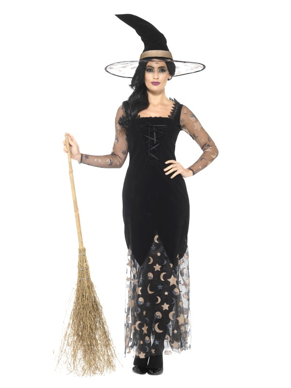 Deluxe Moon & Stars Witch Women's Fancy Dress Costume