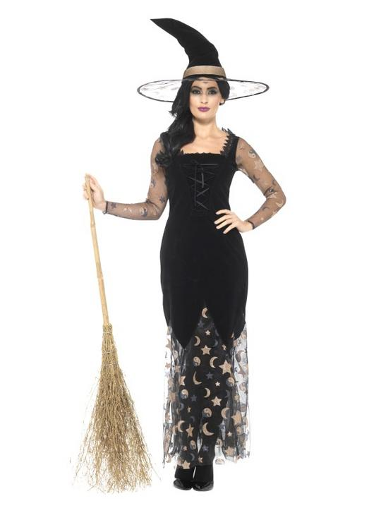 Deluxe Moon & Stars Witch Women's Fancy Dress Costume Thumbnail 1
