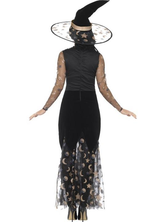 Deluxe Moon & Stars Witch Women's Fancy Dress Costume Thumbnail 2