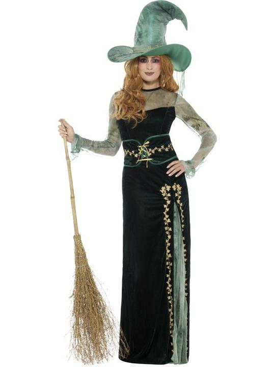 Deluxe Emerald Witch Women's Fancy Dress Costume Thumbnail 1