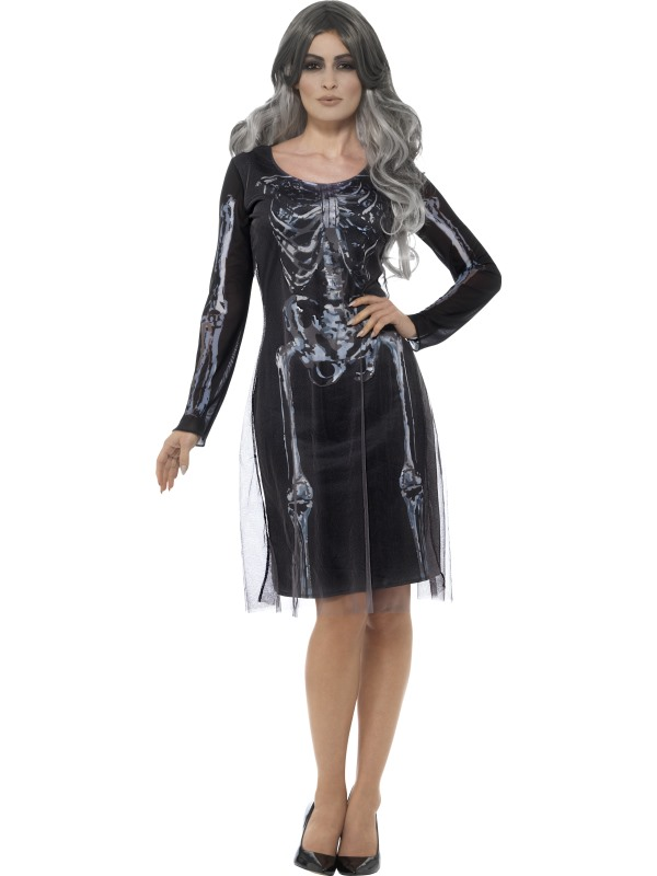 Lady Skeleton Women's Fancy Dress  Costume