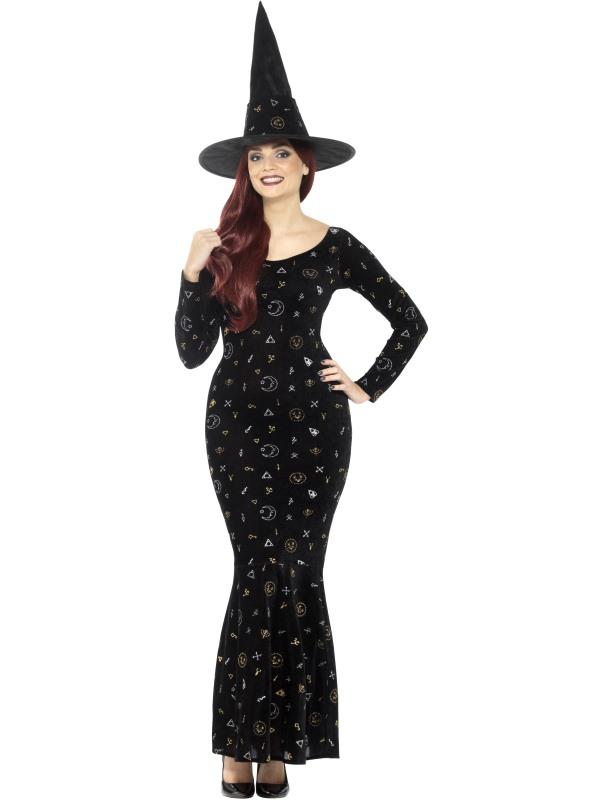 Deluxe Black Magic Ouija Witch Women's Fancy Dress Costume