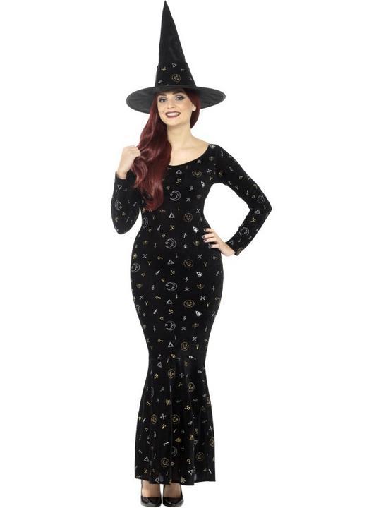 Deluxe Black Magic Ouija Witch Women's Fancy Dress Costume Thumbnail 1