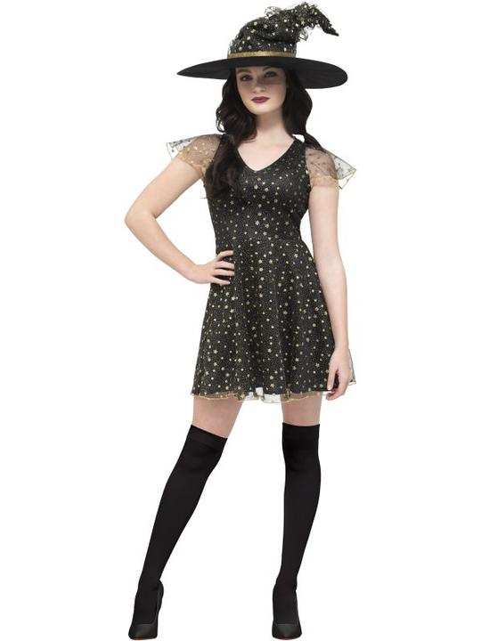Fever Moon & Stars Witch Women's Fancy Dress Costume Thumbnail 1