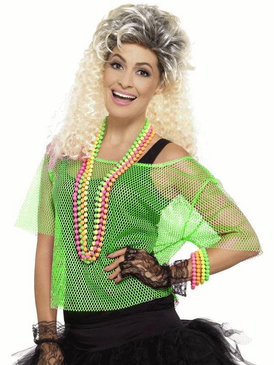 Fishnet Top Green  Women's Fancy Dress Costume Thumbnail 1