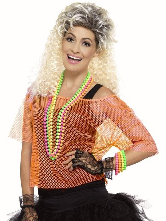 Fishnet Top Orange  Women's Fancy Dress Costume Thumbnail 1