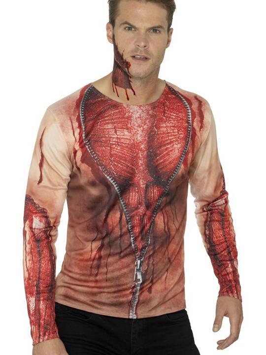 Ripped Skin T-Shirt Men's Fancy Dress Costume Thumbnail 1