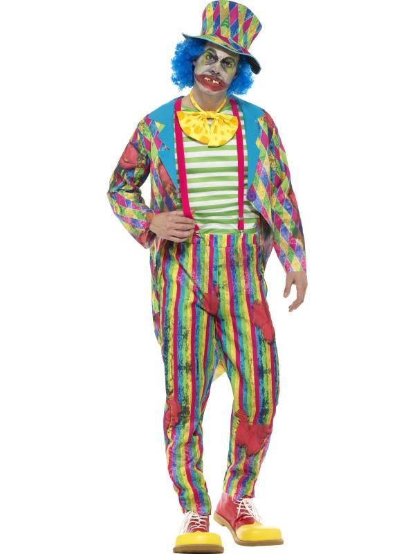 Deluxe Patchwork Clown Men's Fancy Dress Costume