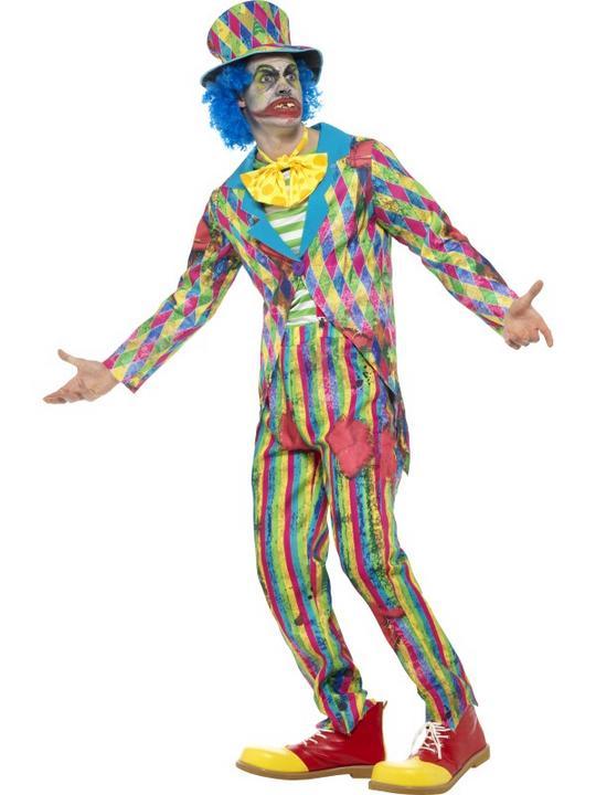 Deluxe Patchwork Clown Men's Fancy Dress Costume Thumbnail 2