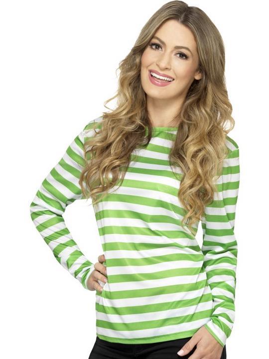 Stripy T-Shirt Green White Unisex Fancy Dress Costume Thumbnail 1