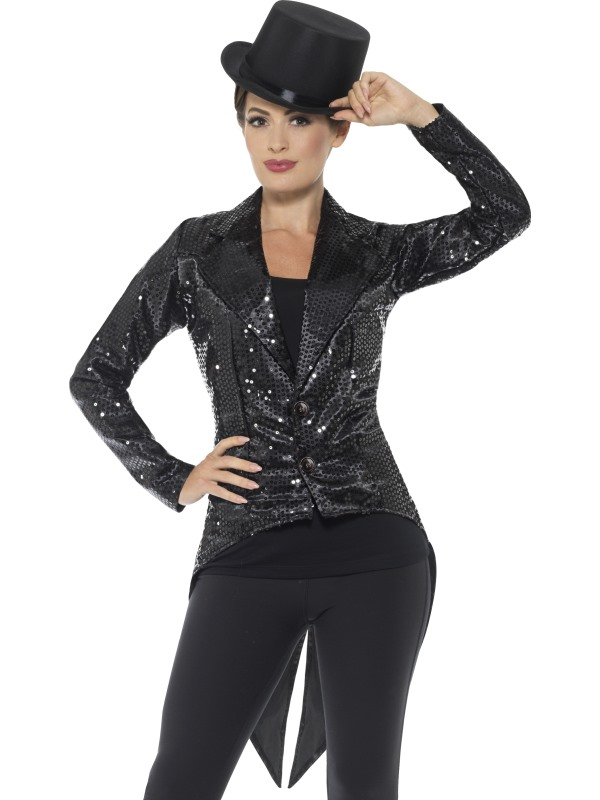 Sequin Tailcoat Jacket Women's Fancy Dress Costume