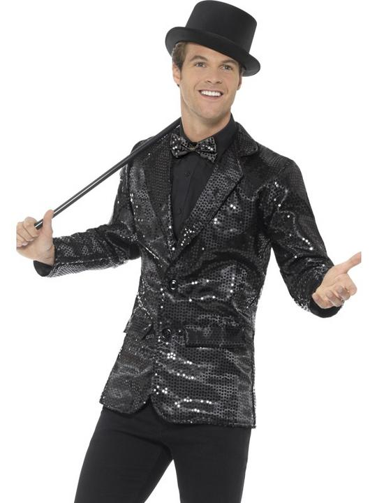 Sequin Jacket Men's Fancy Dress Costume Black Thumbnail 1