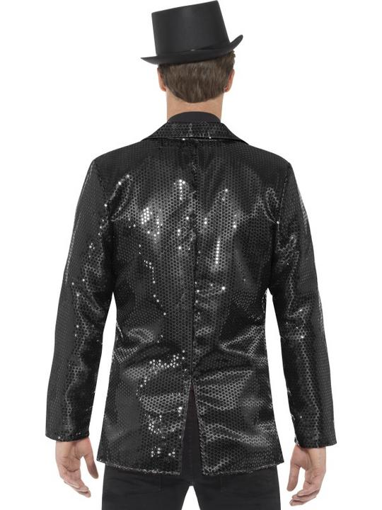 Sequin Jacket Men's Fancy Dress Costume Black Thumbnail 2