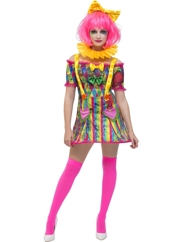 Clown Costume Woemns Circus Fancy Dress Outfit Dressup Comedy