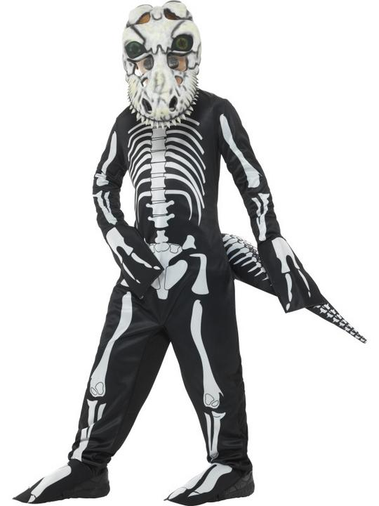 Deluxe T-Rex Skeleton Boys Fancy Dress Costume Thumbnail 1