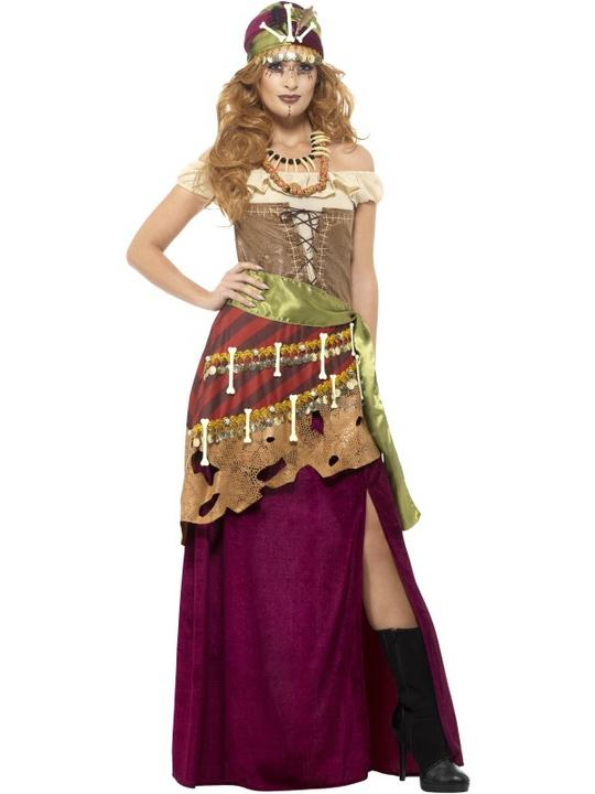 Voodoo Priestess Womens Costume Witch Fancy Dress Outfit Dressup Magic Halloween Thumbnail 1