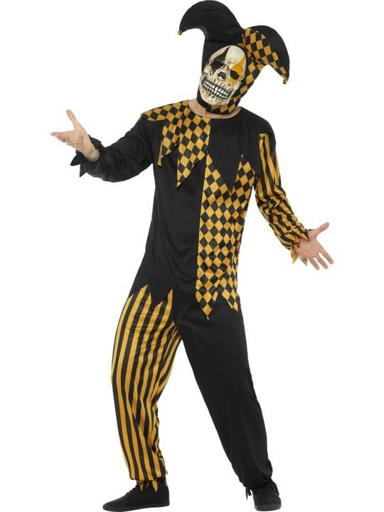 Evil Court Jester Men's Fancy Dress Costume Thumbnail 1
