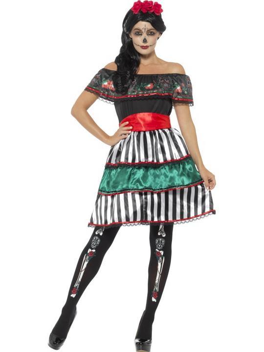 Day of the Dead Senorita Doll Women's Fancy Dress Costume Thumbnail 1
