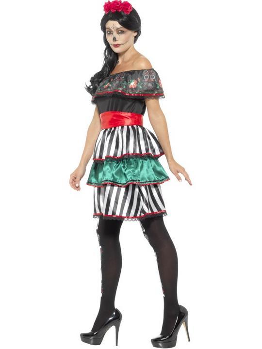 Day of the Dead Senorita Doll Women's Fancy Dress Costume Thumbnail 3
