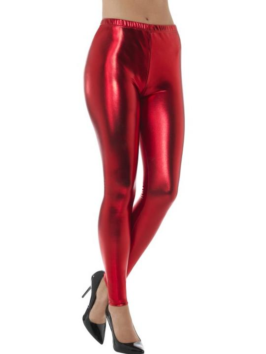 80's Metallic Disco Leggings Red Fancy Dress Costume Thumbnail 1