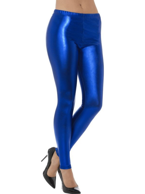 80's Metallic Disco Leggings Blue Women's Fancy Dress
